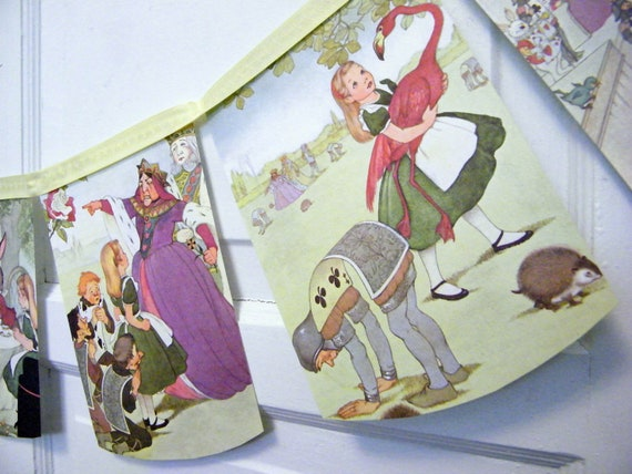 CUSTOM LISTING for Lily Alice in Wonderland bunting banner