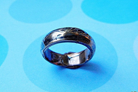 Domed Ring in Heavy Blue, Black Patina. Rustic. Textured Men's Wedding Band. One of a Kind.