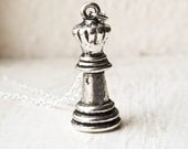 Queen Chess Piece Charm Necklace- Chess Board Charm- 925 Sterling Silver or Silver Tone Chain- Ready to Ship- Last Minute Gift- Games