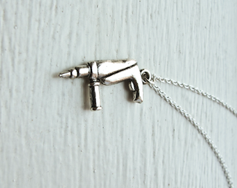 Power Drill Necklace- Silver Charm Jewelry- Holiday Gifts- Whimsical Handy Man Tool- 925 Sterling Silver Chain - Tiny Electric Tools