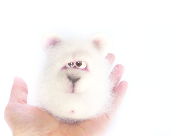 Needle Felted Toy.  Little Polar Bear. White Bear. Toys. gift under 40.