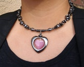 Hematite and Pink Cats Eye Heart Choker with Pendant and Earring set