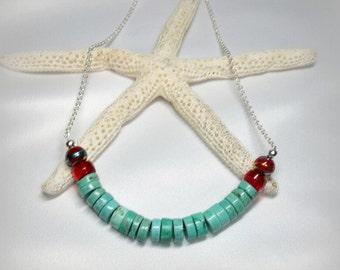 Green Howlite Heishi Necklace