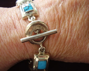 Vintage Sterling Silver and Turquoise Toggle Bracelet