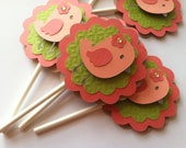 Bird Cupcake Toppers, Birdie Baby Shower Topper, Birdie Birthday, Birdie Cupcake Topper, Pink Birdie Topper 12 pc  READY TO SHIP