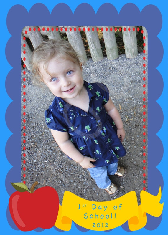 First Day Of School Keepsake Photo - Apple and Dots - You Print - 4x6 or 5x7
