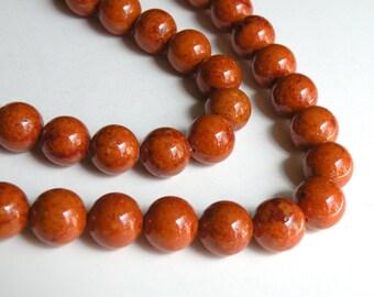 Riverstone beads in brown round gemstone 12mm full strand 4310GS
