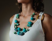 Summer Necklace Turquoise Blue Beaded Chunky Felted Necklace