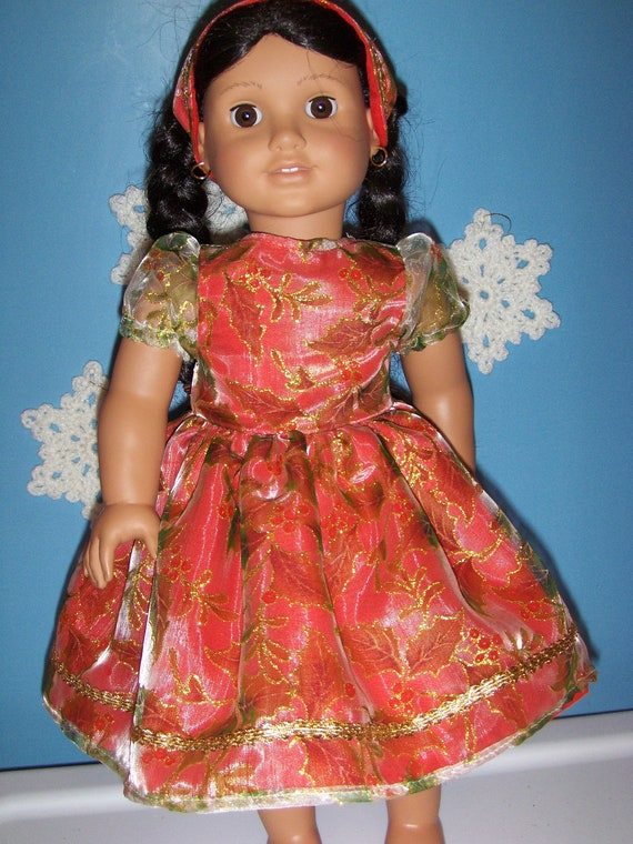 RESERVED FOR SANDY Christmas Red with Holly Sheer  and Gold Trim Dress,  Panty and Headband fits American Girl and 18 inch  Doll