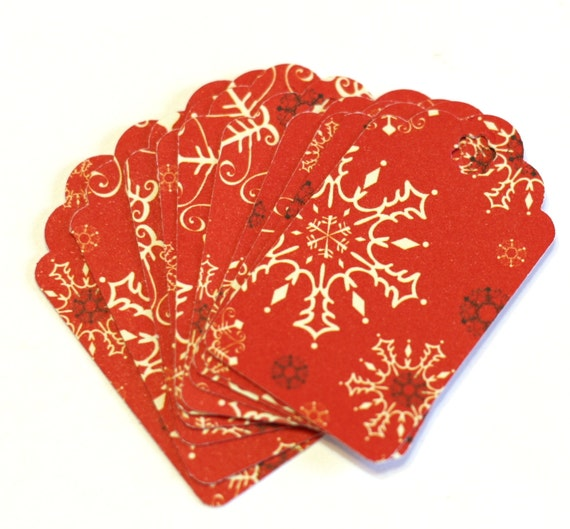 Red and White Snowflake Holiday Gift Tags Medium Gift Tags - Set of 10