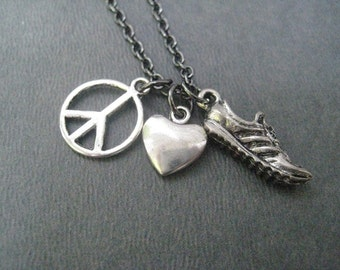 PEACE Love RUN Pewter Necklace on Gunmetal Chain - Choose to add a 5k, 10k, 13.1, 26.2, Run or XC Charm - Run Necklace - Peace Love Running