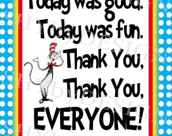 Personalized PRINTABLE Dr. Seuss Birthday Book Sign & Thank You Sign