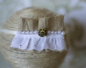 Lace, linen and pearls headband/ halo, size newborn to adult photography prop
