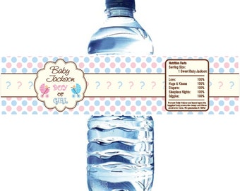 Gender Reveal Water Bottle Labels - Waterproof and self stick