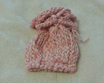 Pink & White mix Knitted Gift Bag / Sachet