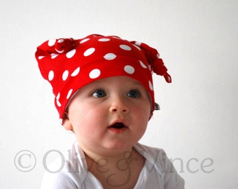 SALE - Red spotty hat size 1-2yrs white polka dots toddler - Ready to ship