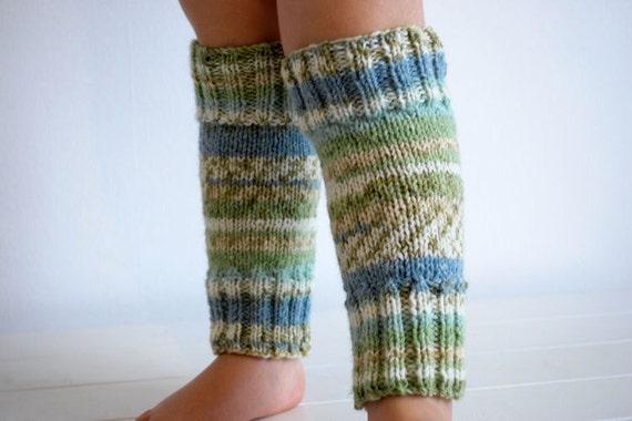Warm knitted kids legwarmers blue snow green neutral colours boys girls unisex winter fall toddler childrens leg warmers long socks