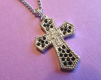 Silver & Black Rhinestone Cross, Cross Pendant with 18K Whitegold Neck Chain, Vintage Cross Necklace