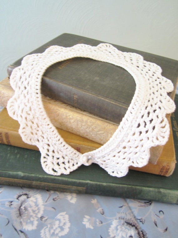 Patisserie - 1950s White Crochet Lace Scalloped Collar peter pan girly sweet necklace detachable
