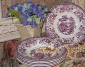 Set of 6 Clarice Cliff Rimmed Transferware Soup Bowls, Tonquin, Plum, Vintage, Perfect, Royal Staffordshire, England, China, Best Price