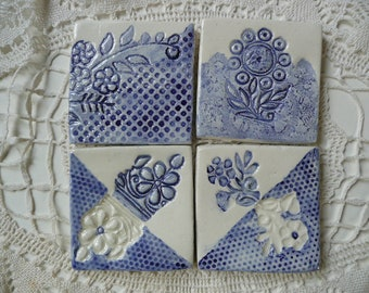 Handmade Ceramic Tiles - Wood Block Flower Designs