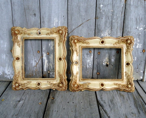 Vintage Ornate Frames Set Pair White Cream Floral Baroque Hollywood Regency Cottage Shabby  Photo Picture Convex Glass Plaster Distressed