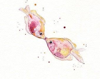 Kissy/ Kissing Pink Fish/Watercolor Print