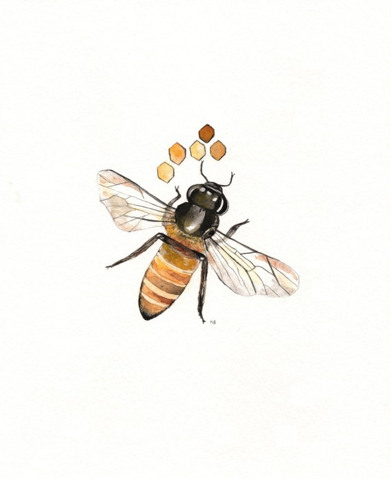 Bee-lieve/ Bee and Honeycomb Watercolor print/grey and yellow/ black and yellow/ Archival Print