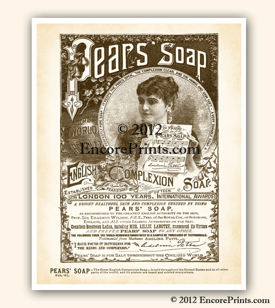 Shabby chic bathroom decor pears soap ad vintage art print for Vintage bathroom printables