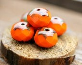 Halloween beads - bright orange Picasso Czech glass beads, donut, rondelle - 6x8mm - 12Pc - 0401