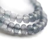 Grey czech glass beads - matte gray gemstone cut spacers, modern - 2x3mm - 50Pc - 0408