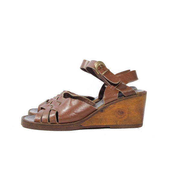 s wedge sandals wood platform shoes by wildrabbitvintage