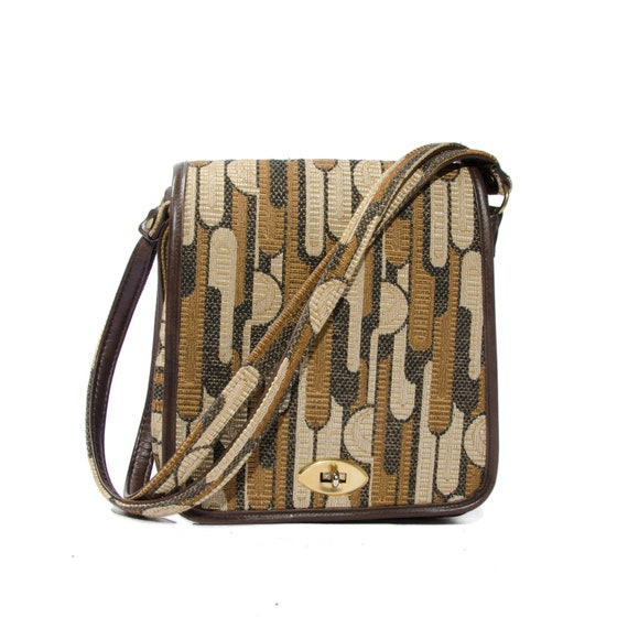 60s Shoulder Bag Olive Brown Geometric Print Vegan Purse