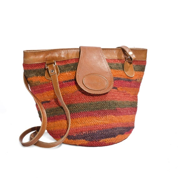 Fall Fashion Leather and Woven Straw Small Tote Bag in Autumn Colors