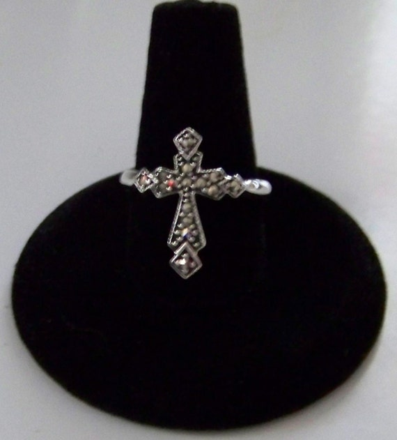 Vintage Sterling Silver and Marcasite Cross Style Ring