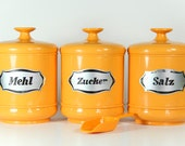 Retro Kitchen Canisters Sugar Flour Salt West Germany Yellow