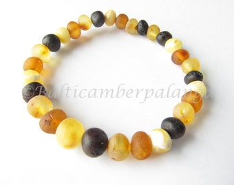Baltic Amber Bracelet, Raw Unpolished Multicolor Beads