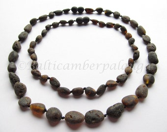 Raw Black Baltic Amber Baby Teething Set for Baby and Daddy or Mommy