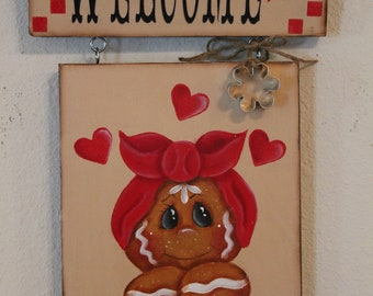 Gingerbread Welcome Sign...Wall Hanging..Ginger Decor...Collector