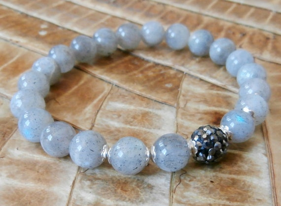Intuition Genuine Labradorite bracelet with Pave Guru bead, Yoga Bracelet, Meditation bracelet, Reiki Charged, free shipping