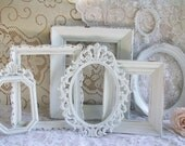 Shabby Chic Frames, White frame Set, Vintage Frames, Ornate Frames, Picture Frames, Victorian Frame Collection, Wall Display, Wedding Decor