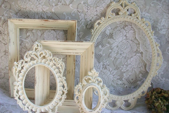 Shabby Chic Frames, Distressed Creamy White Frames Collection, Vintage Frame Set, Ornate Frames, Wedding Decor, Wall Gallery Display