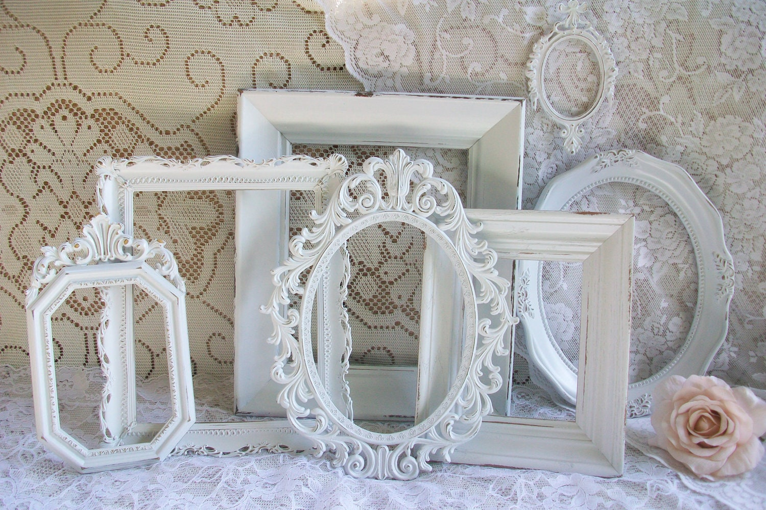 Shabby chic frames white frame set vintage frames ornate for Photo shabby chic