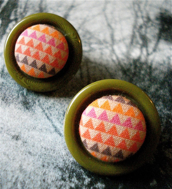 Triangle Earrings Fabric Button Studs Upcycled Button Bezels