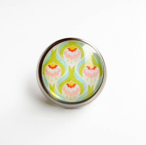 Lime Green Peacock Print Glass and Metal Knob