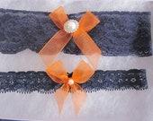 Bridal Garter Set - Navy Blue & Orange Garter Set -The Original Simply Chic Garter