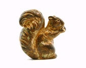 Rustic Squirrel Figurine, Vintage 1960s Ceramic Autumn Woodland Decor