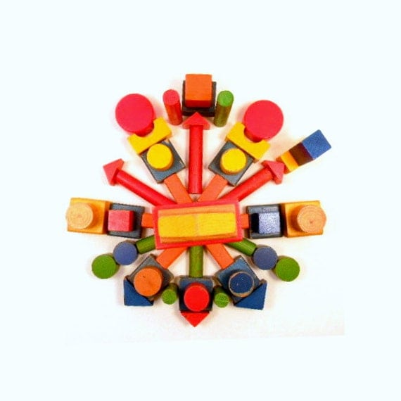 Wooden Building Blocks, Vintage Colorful Children's Toy