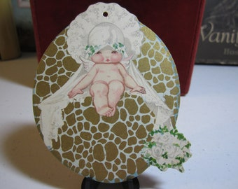 1920's die cut and gold gilded bridge tally card cherubic girl with wings wearing a wedding veil with a bouquet unused