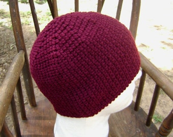Crochet Hat Beanie Skullcap Men Women Teen Maroon Claret